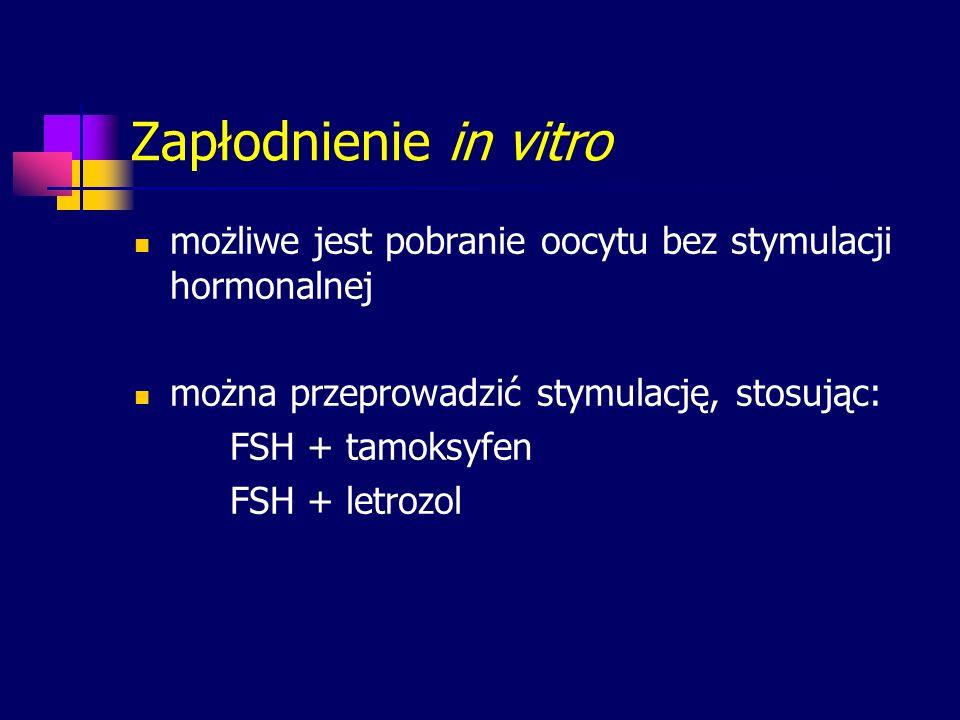 Zapłodnienie in vitro możliwe jest pobranie oocytu bez stymulacji hormonalnej można przeprowadzić stymulację, stosując: FSH + tamoksyfen FSH + letrozo