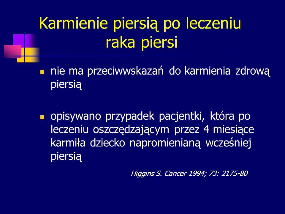 Karmienie piersią po leczeniu raka piersi nie ma przeciwwskazań do karmienia zdrową piersią opisywano przypadek pacjentki, która po leczeniu oszczędza