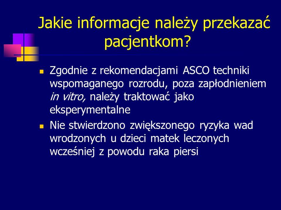 Jakie informacje należy przekazać pacjentkom? Zgodnie z rekomendacjami ASCO techniki wspomaganego rozrodu, poza zapłodnieniem in vitro, należy traktow