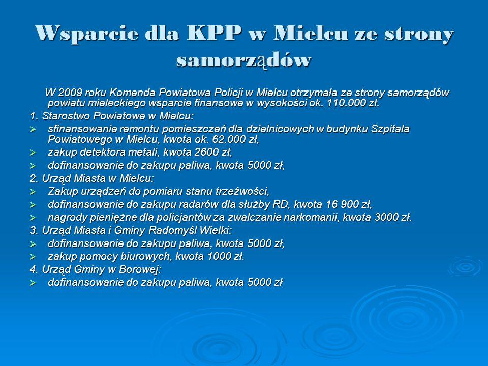 Wsparcie dla KPP w Mielcu ze strony samorz ą dów W 2009 roku Komenda Powiatowa Policji w Mielcu otrzymała ze strony samorządów powiatu mieleckiego wsparcie finansowe w wysokości ok.