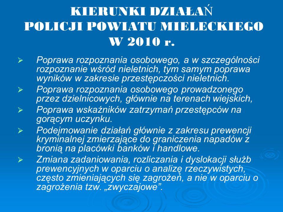 KIERUNKI DZIAŁA Ń POLICJI POWIATU MIELECKIEGO W 2010 r.