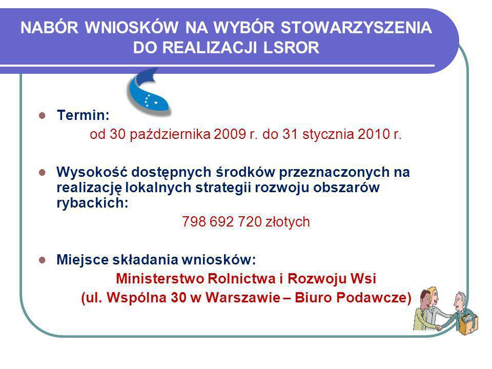 NABÓR WNIOSKÓW NA WYBÓR STOWARZYSZENIA DO REALIZACJI LSROR Termin: od 30 października 2009 r. do 31 stycznia 2010 r. Wysokość dostępnych środków przez