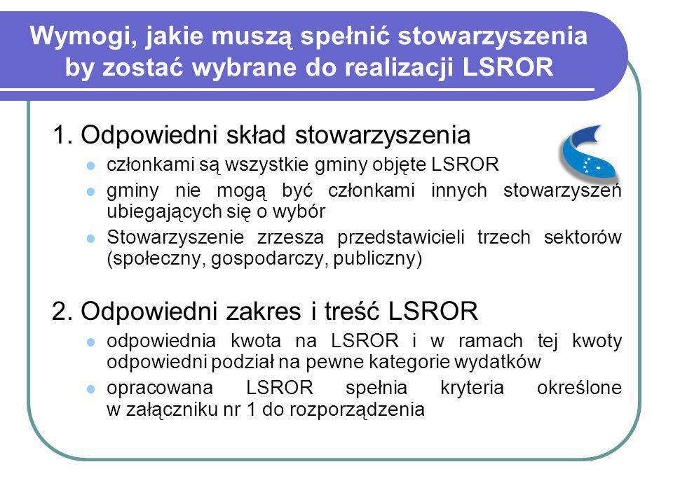 Wymogi, jakie muszą spełnić stowarzyszenia by zostać wybrane do realizacji LSROR 1. Odpowiedni skład stowarzyszenia członkami są wszystkie gminy objęt