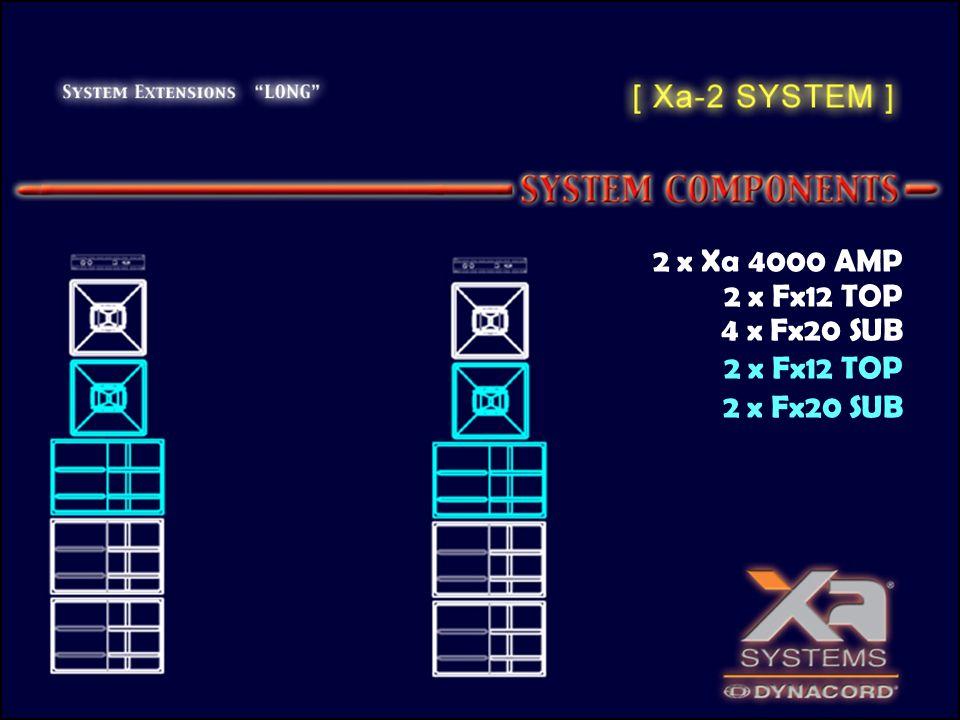 2 x Xa 4000 AMP 2 x Fx12 TOP 4 x Fx20 SUB 2 x Fx12 TOP 2 x Fx20 SUB