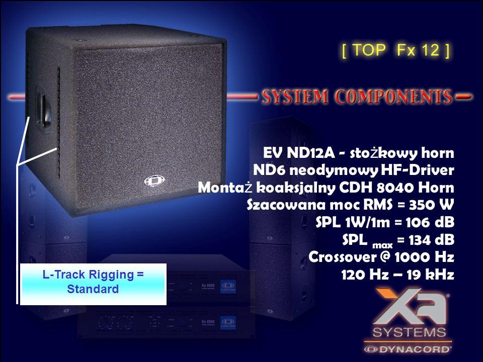 EV ND12A - sto ż kowy horn ND6 neodymowy HF-Driver Monta ż koaksjalny CDH 8040 Horn Szacowana moc RMS = 350 W SPL 1W/1m = 106 dB SPL max = 134 dB Cros