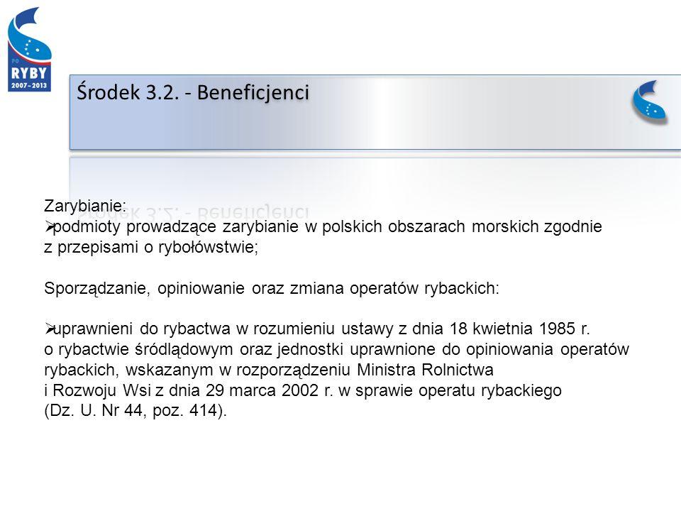 Zarybianie: podmioty prowadzące zarybianie w polskich obszarach morskich zgodnie z przepisami o rybołówstwie; Sporządzanie, opiniowanie oraz zmiana operatów rybackich: uprawnieni do rybactwa w rozumieniu ustawy z dnia 18 kwietnia 1985 r.
