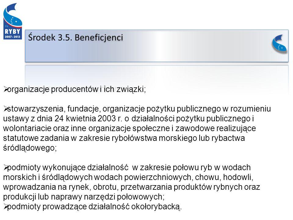 organizacje producentów i ich związki; stowarzyszenia, fundacje, organizacje pożytku publicznego w rozumieniu ustawy z dnia 24 kwietnia 2003 r.