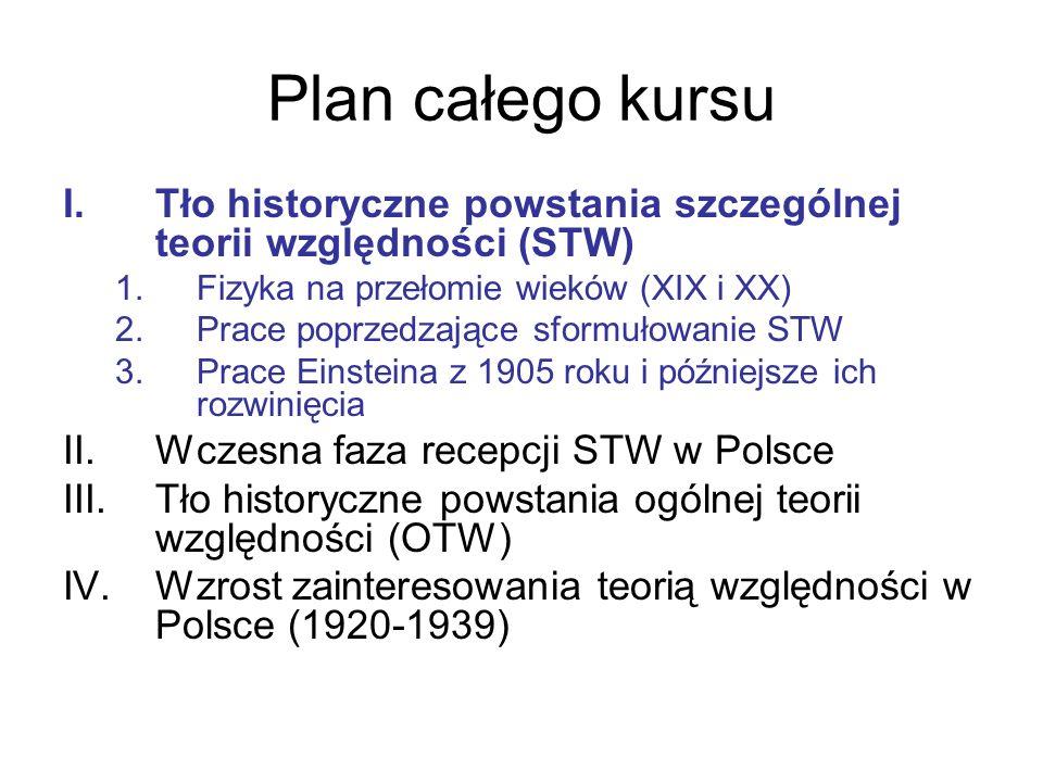 Plan całego kursu I.Tło historyczne powstania szczególnej teorii względności (STW) 1.Fizyka na przełomie wieków (XIX i XX) 2.Prace poprzedzające sform