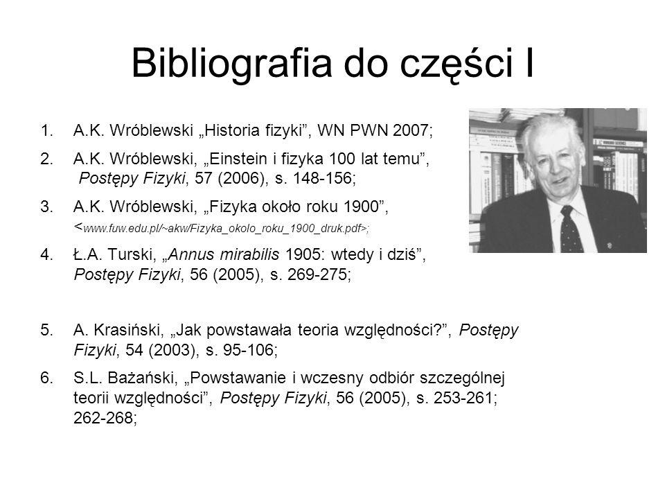 Bibliografia do części I 1.A.K. Wróblewski Historia fizyki, WN PWN 2007; 2.A.K. Wróblewski, Einstein i fizyka 100 lat temu, Postępy Fizyki, 57 (2006),