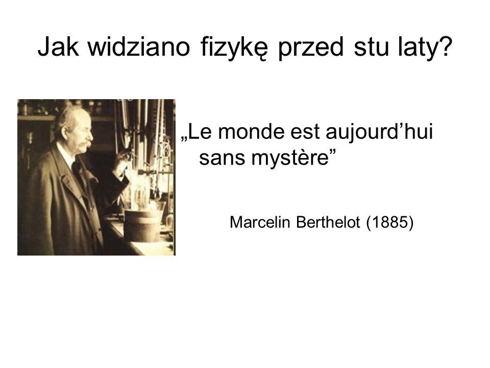 Jak widziano fizykę przed stu laty? Le monde est aujourdhui sans mystère Marcelin Berthelot (1885)