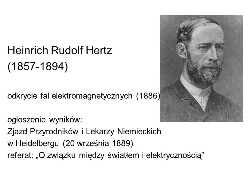 Heinrich Rudolf Hertz (1857-1894) odkrycie fal elektromagnetycznych (1886) ogłoszenie wyników: Zjazd Przyrodników i Lekarzy Niemieckich w Heidelbergu