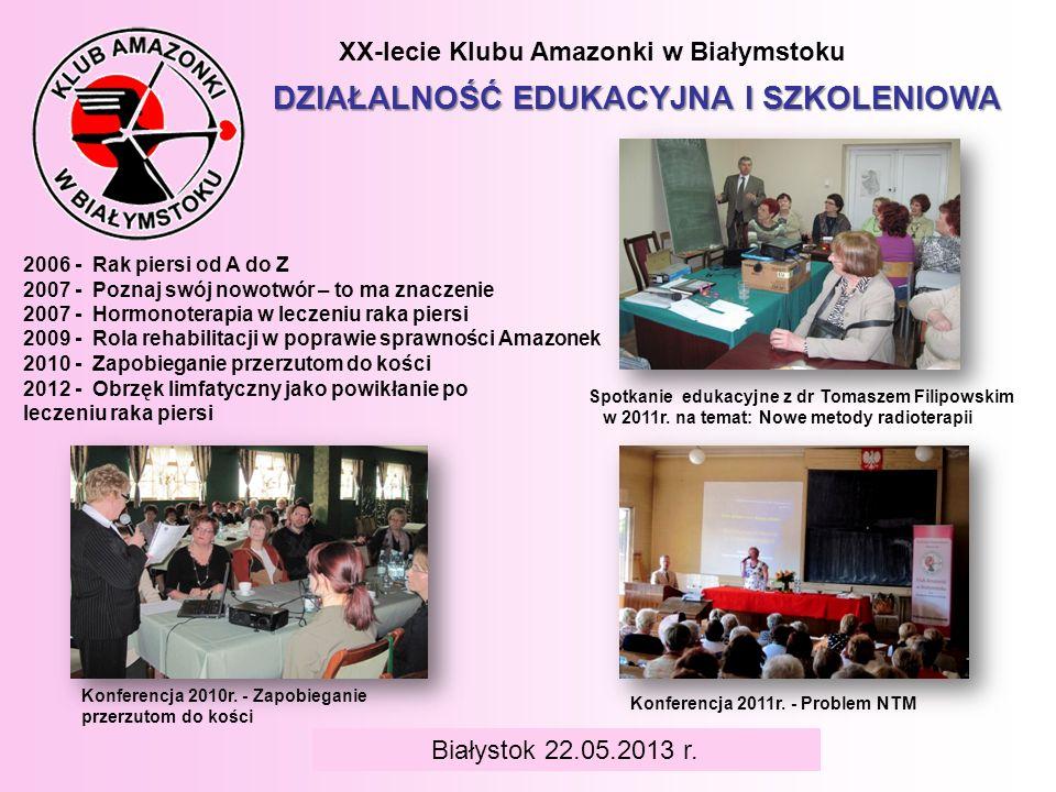 BIAŁYSTOK 6 czerwca 2008 r. XX-lecie Klubu Amazonki w Białymstoku DZIAŁALNOŚĆ EDUKACYJNA I SZKOLENIOWA Konferencja 2011r. - Problem NTM 2006 - Rak pie