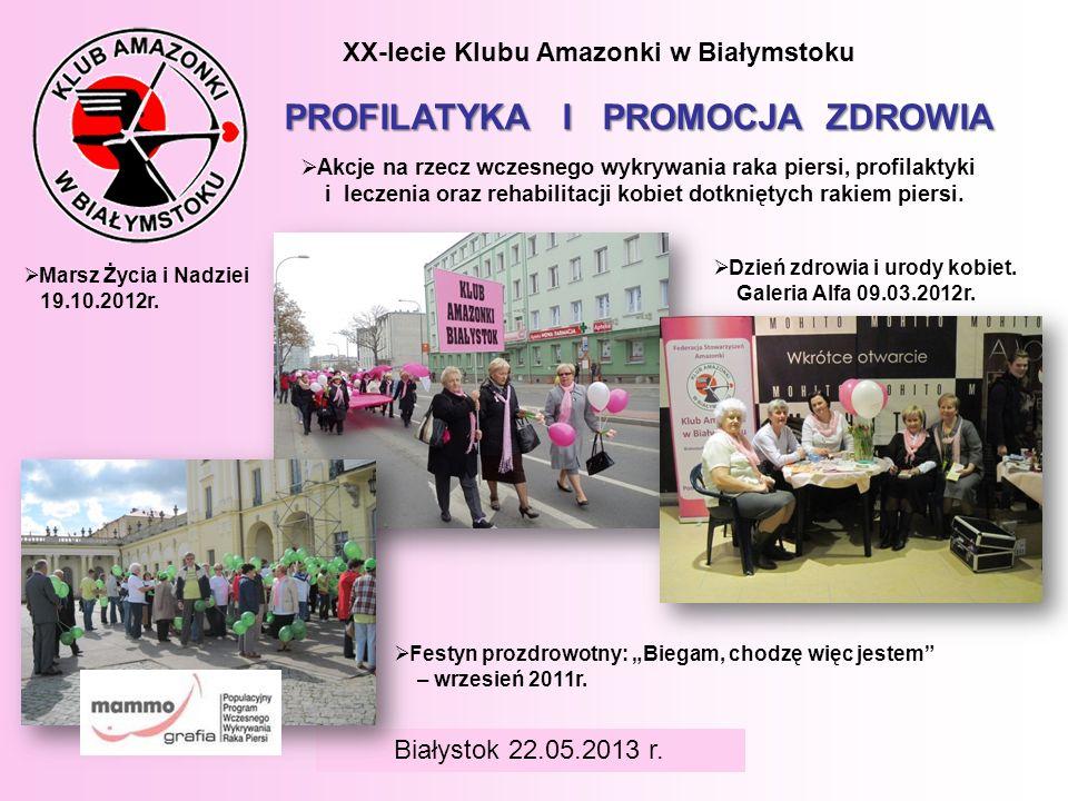 BIAŁYSTOK 6 czerwca 2008 r. XX-lecie Klubu Amazonki w Białymstoku PROFILATYKA I PROMOCJA ZDROWIA Akcje na rzecz wczesnego wykrywania raka piersi, prof
