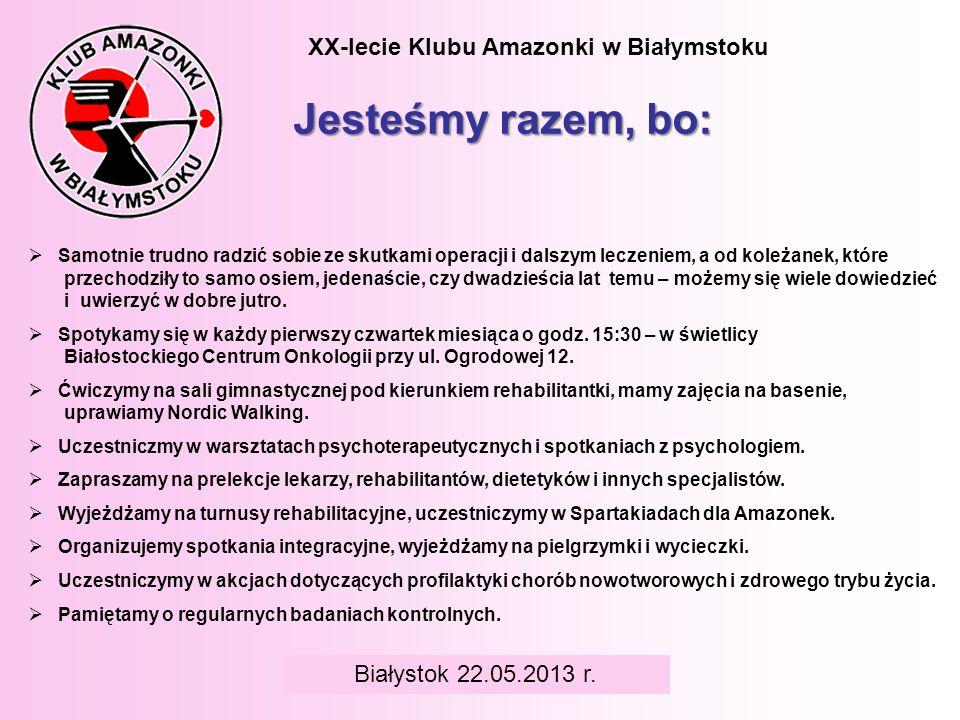 BIAŁYSTOK 6 czerwca 2008 r. XX-lecie Klubu Amazonki w Białymstoku Jesteśmy razem, bo: Samotnie trudno radzić sobie ze skutkami operacji i dalszym lecz