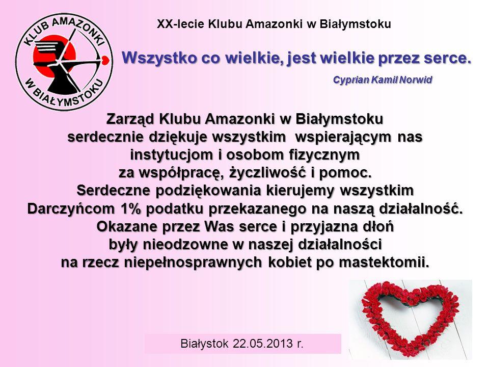 BIAŁYSTOK 6 czerwca 2008 r. XX-lecie Klubu Amazonki w Białymstoku Wszystko co wielkie, jest wielkie przez serce. Cyprian Kamil Norwid Białystok 22.05.