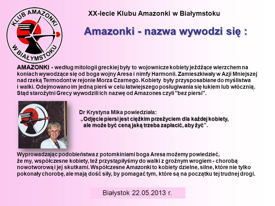 XX-lecie Klubu Amazonki w Białymstoku Amazonki - nazwa wywodzi się : AMAZONKI AMAZONKI - według mitologii greckiej były to wojownicze kobiety jeżdżące