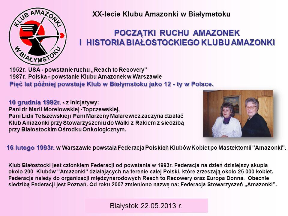 XX-lecie Klubu Amazonki w Białymstoku POCZĄTKI RUCHU AMAZONEK I HISTORIA BIAŁOSTOCKIEGO KLUBU AMAZONKI 1952r. USA - powstanie ruchu Reach to Recovery