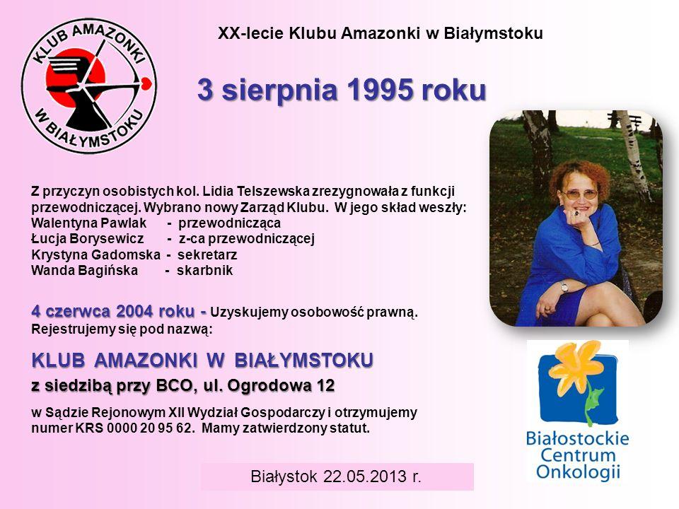 BIAŁYSTOK 6 czerwca 2008 r. XX-lecie Klubu Amazonki w Białymstoku 3 sierpnia 1995 roku Z przyczyn osobistych kol. Lidia Telszewska zrezygnowała z funk