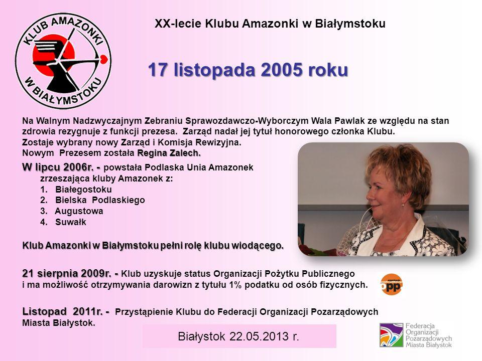BIAŁYSTOK 6 czerwca 2008 r. XX-lecie Klubu Amazonki w Białymstoku W lipcu 2006r. - W lipcu 2006r. - powstała Podlaska Unia Amazonek zrzeszająca kluby