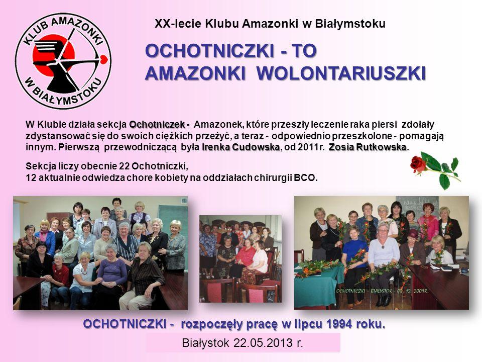 BIAŁYSTOK 6 czerwca 2008 r. XX-lecie Klubu Amazonki w Białymstoku OCHOTNICZKI - TO AMAZONKI WOLONTARIUSZKI Sekcja liczy obecnie 22 Ochotniczki, 12 akt