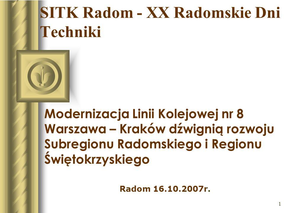 1 SITK Radom - XX Radomskie Dni Techniki Modernizacja Linii Kolejowej nr 8 Warszawa – Kraków dźwignią rozwoju Subregionu Radomskiego i Regionu Świętok