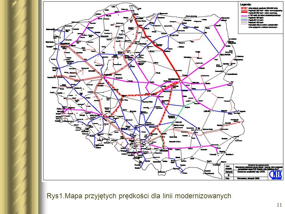11 Rys1.Mapa przyjętych prędkości dla linii modernizowanych