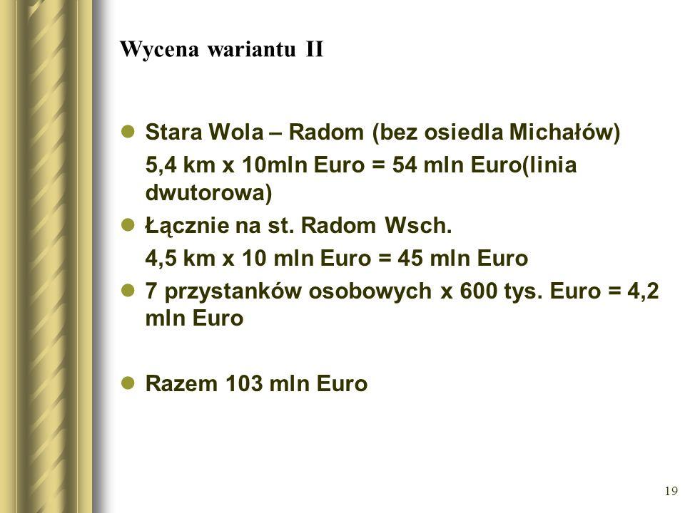 19 Wycena wariantu II Stara Wola – Radom (bez osiedla Michałów) 5,4 km x 10mln Euro = 54 mln Euro(linia dwutorowa) Łącznie na st. Radom Wsch. 4,5 km x