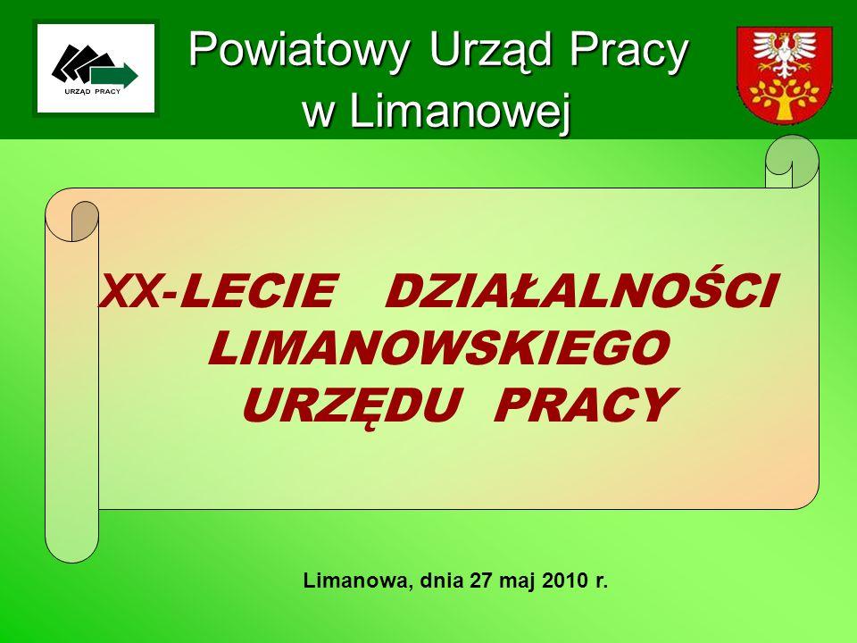 Powiatowy Urząd Pracy w Limanowej Limanowa, dnia 27 maj 2010 r. XX- LECIE DZIAŁALNOŚCI LIMANOWSKIEGO URZĘDU PRACY