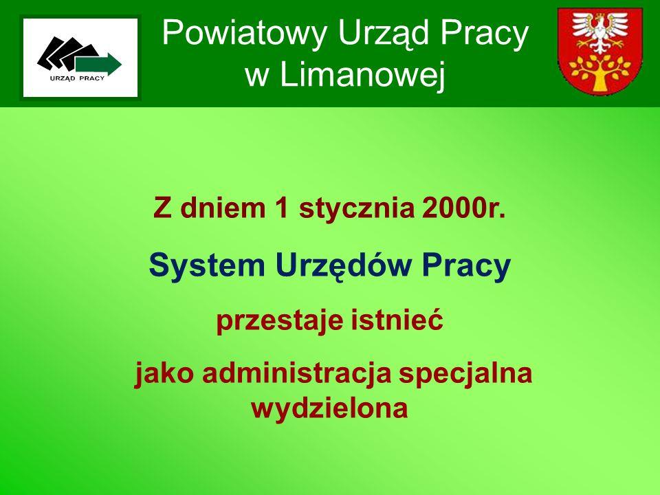 Powiatowy Urząd Pracy w Limanowej Z dniem 1 stycznia 2000r. System Urzędów Pracy przestaje istnieć jako administracja specjalna wydzielona