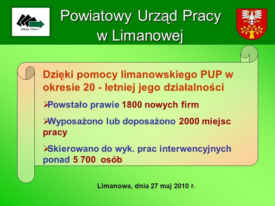 Powiatowy Urząd Pracy w Limanowej Limanowa, dnia 27 maj 2010 r. Dzięki pomocy limanowskiego PUP w okresie 20 - letniej jego działalności Powstało praw