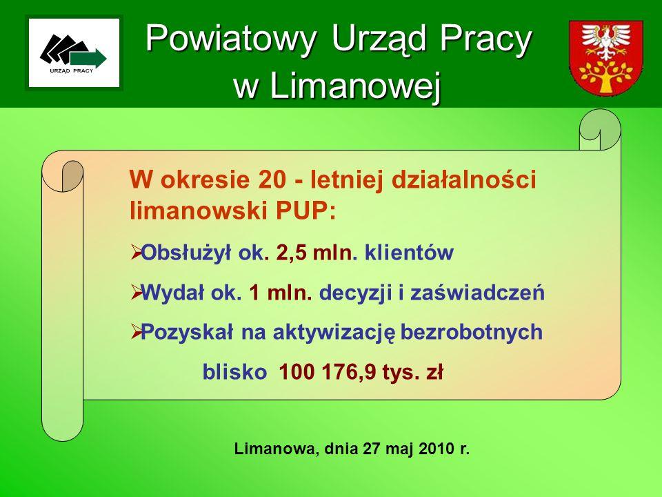 Powiatowy Urząd Pracy w Limanowej Limanowa, dnia 27 maj 2010 r. W okresie 20 - letniej działalności limanowski PUP: Obsłużył ok. 2,5 mln. klientów Wyd