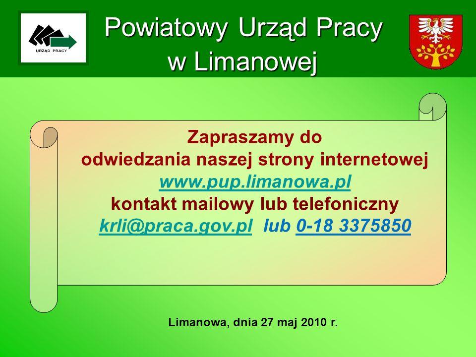 Powiatowy Urząd Pracy w Limanowej Limanowa, dnia 27 maj 2010 r. Zapraszamy do odwiedzania naszej strony internetowej www.pup.limanowa.pl kontakt mailo