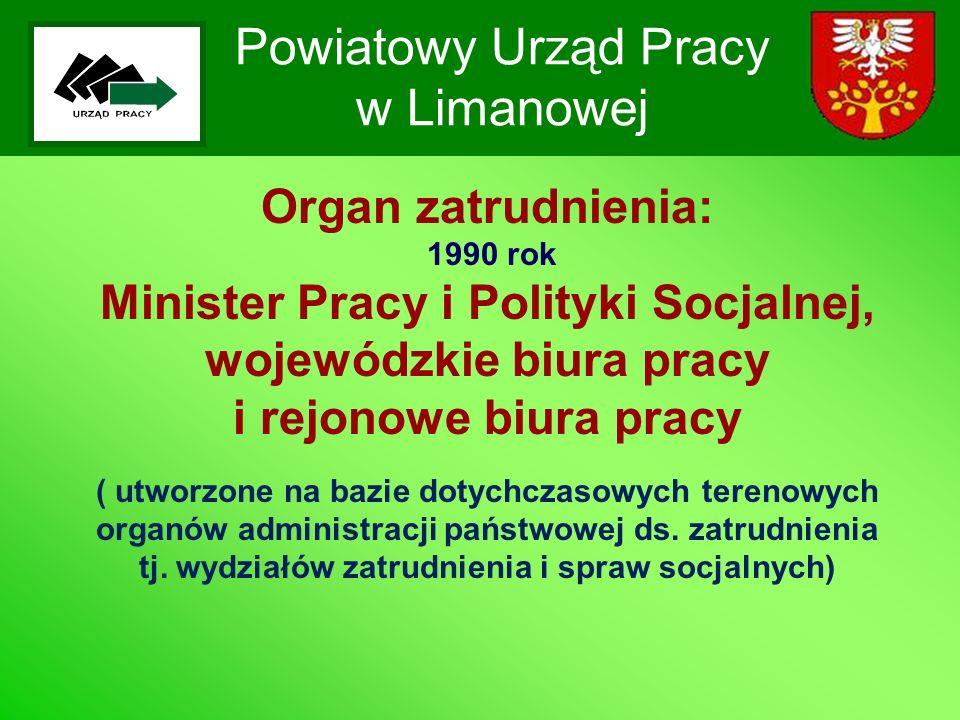 Powiatowy Urząd Pracy w Limanowej Organ zatrudnienia: 1990 rok Minister Pracy i Polityki Socjalnej, wojewódzkie biura pracy i rejonowe biura pracy ( u