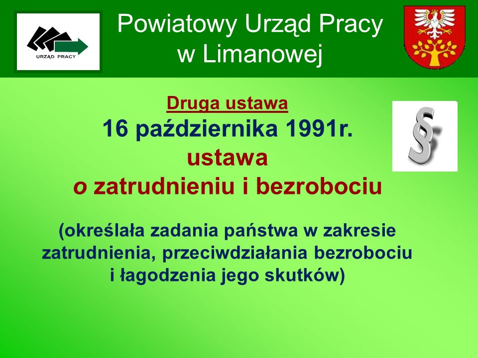 Powiatowy Urząd Pracy w Limanowej Druga ustawa 16 października 1991r. ustawa o zatrudnieniu i bezrobociu (określała zadania państwa w zakresie zatrudn