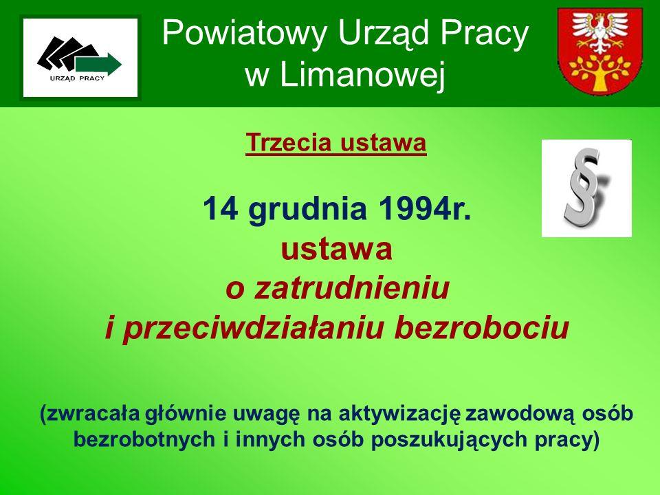 Powiatowy Urząd Pracy w Limanowej Trzecia ustawa 14 grudnia 1994r. ustawa o zatrudnieniu i przeciwdziałaniu bezrobociu (zwracała głównie uwagę na akty