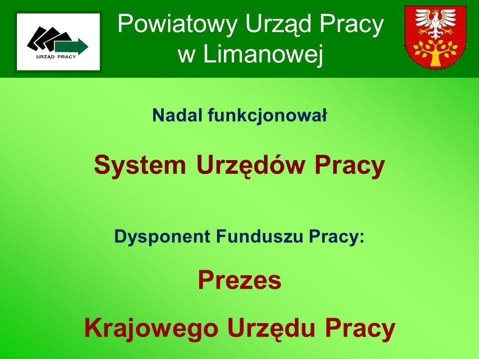 Powiatowy Urząd Pracy w Limanowej Nadal funkcjonował System Urzędów Pracy Dysponent Funduszu Pracy: Prezes Krajowego Urzędu Pracy