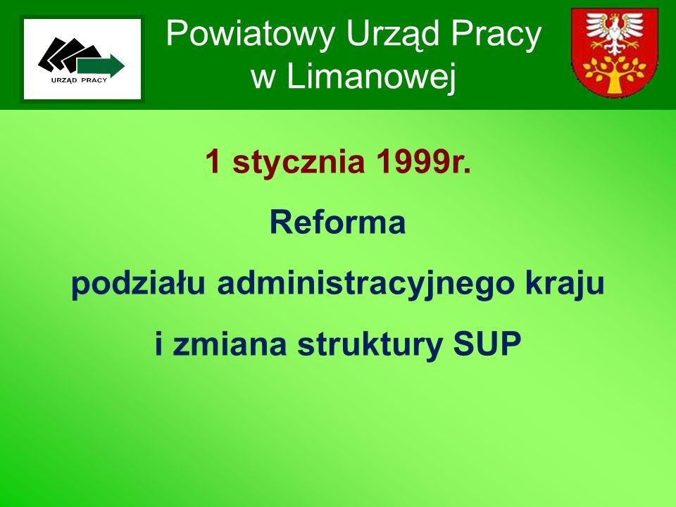 Powiatowy Urząd Pracy w Limanowej 1 stycznia 1999r. Reforma podziału administracyjnego kraju i zmiana struktury SUP