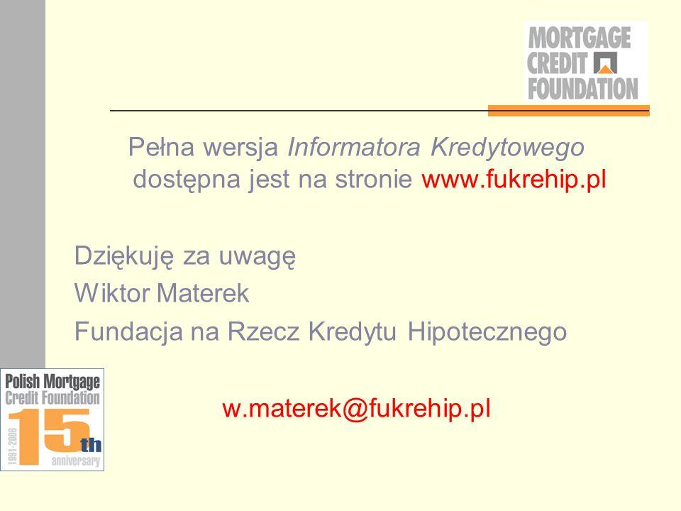 Pełna wersja Informatora Kredytowego dostępna jest na stronie www.fukrehip.pl Dziękuję za uwagę Wiktor Materek Fundacja na Rzecz Kredytu Hipotecznego