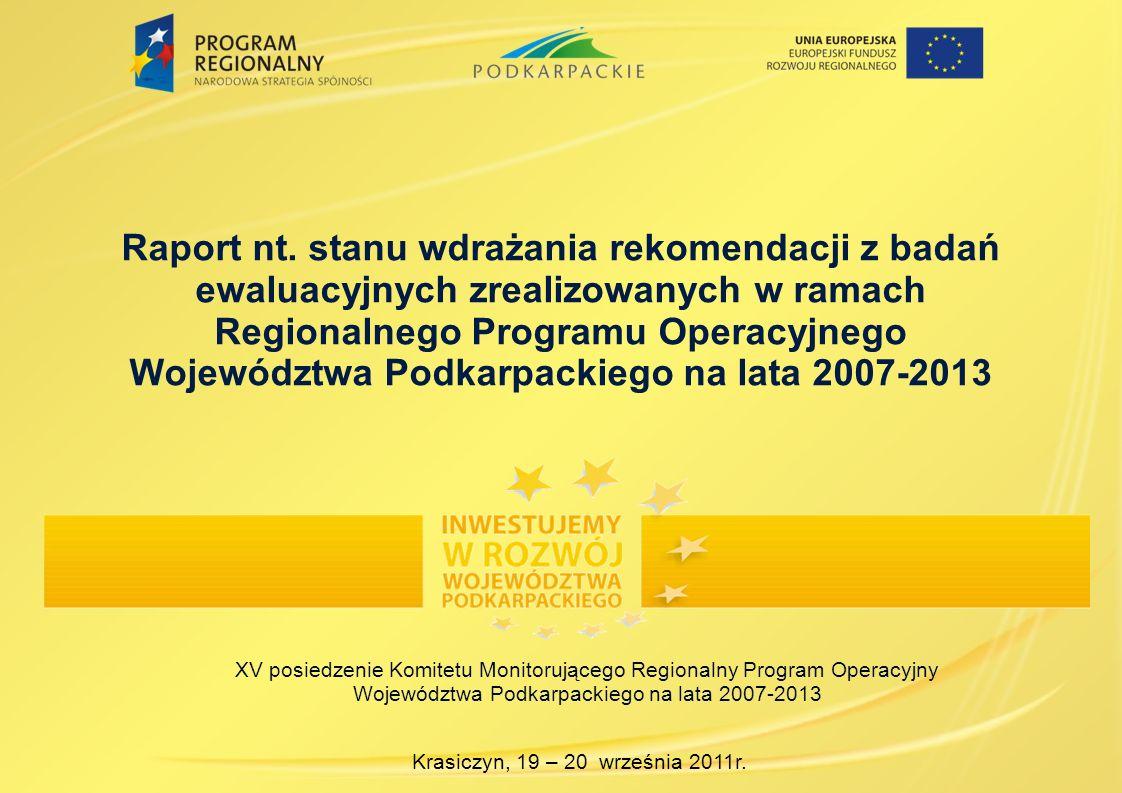 Raport nt. stanu wdrażania rekomendacji z badań ewaluacyjnych zrealizowanych w ramach Regionalnego Programu Operacyjnego Województwa Podkarpackiego na