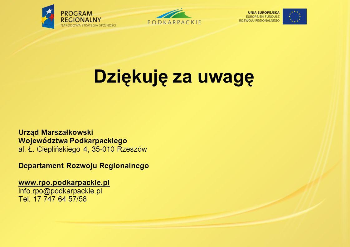 Dziękuję za uwagę Urząd Marszałkowski Województwa Podkarpackiego al.