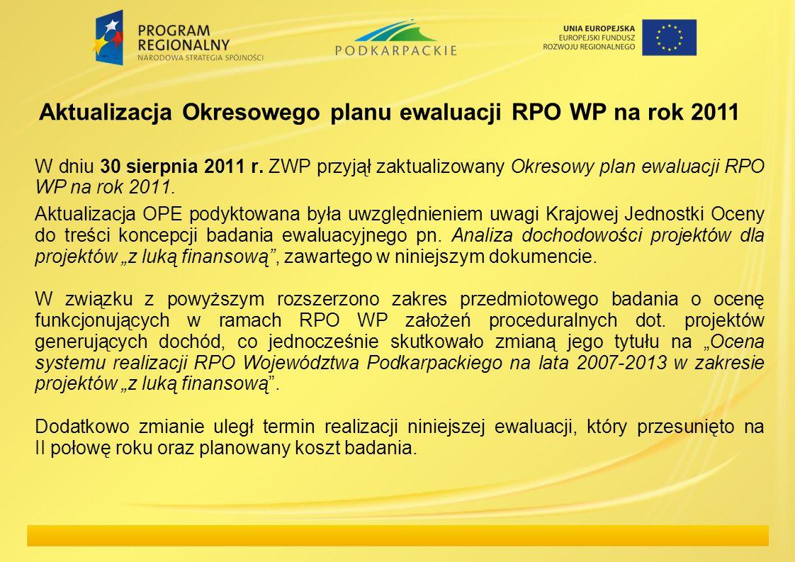 W dniu 30 sierpnia 2011 r. ZWP przyjął zaktualizowany Okresowy plan ewaluacji RPO WP na rok 2011. Aktualizacja OPE podyktowana była uwzględnieniem uwa