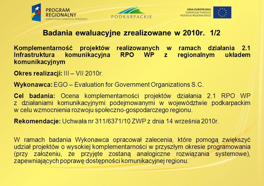 Komplementarność projektów realizowanych w ramach działania 2.1 Infrastruktura komunikacyjna RPO WP z regionalnym układem komunikacyjnym Okres realizacji: III – VII 2010r.