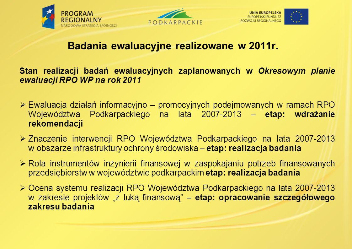 Badania ewaluacyjne realizowane w 2011r. Stan realizacji badań ewaluacyjnych zaplanowanych w Okresowym planie ewaluacji RPO WP na rok 2011 Ewaluacja d