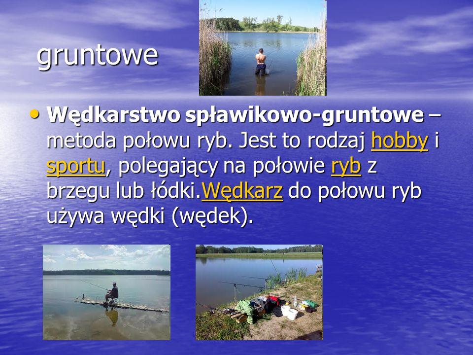 gruntowe Wędkarstwo spławikowo-gruntowe – metoda połowu ryb. Jest to rodzaj hobby i sportu, polegający na połowie ryb z brzegu lub łódki.Wędkarz do po