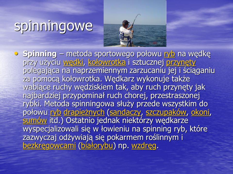 spinningowe Spinning – metoda sportowego połowu ryb na wędkę przy użyciu wędki, kołowrotka i sztucznej przynęty polegająca na naprzemiennym zarzucaniu