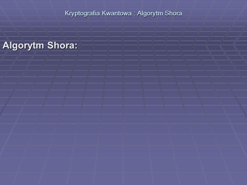 Kryptografia Kwantowa : Algorytm Shora Algorytm Shora: