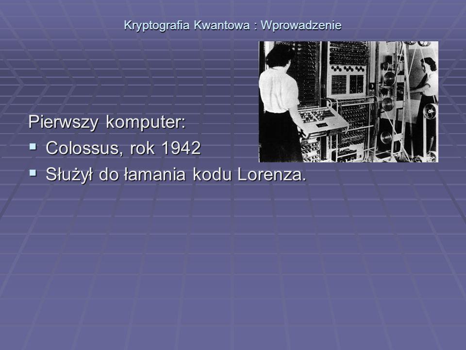 Kryptografia Kwantowa : Algorytm Shora Algorytm Shora: Umożliwia szybką faktoryzację liczb.