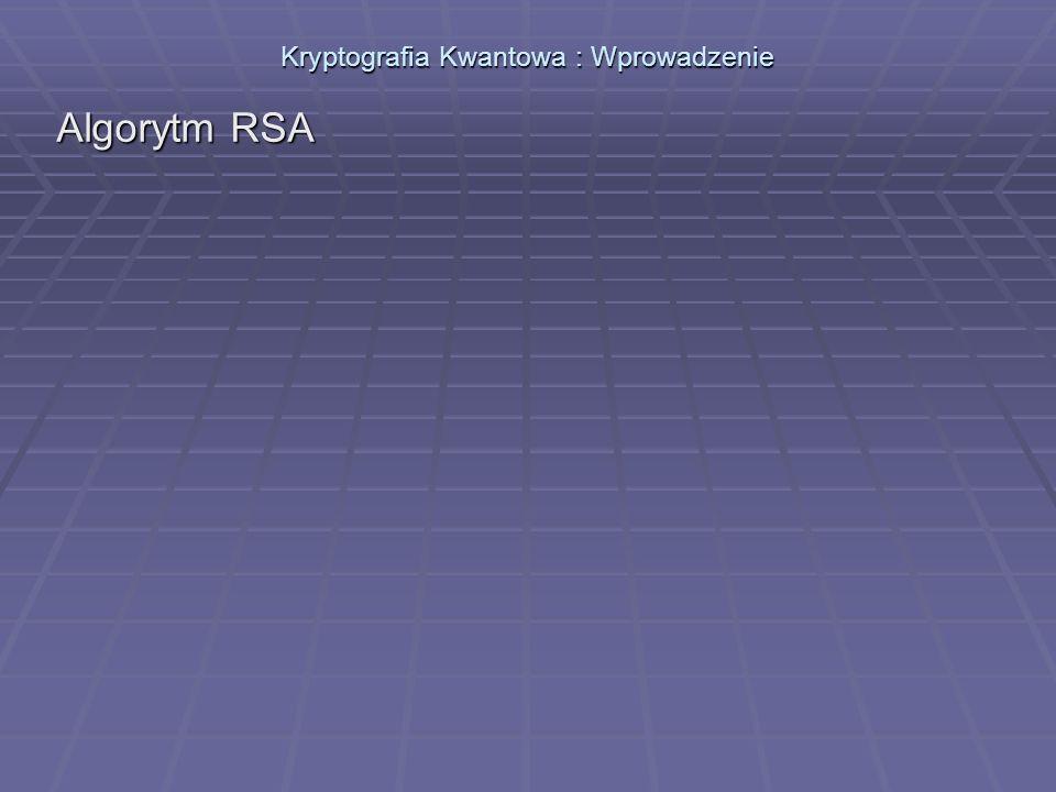 Kryptografia Kwantowa : Wprowadzenie Algorytm RSA Wykorzystujący trudność w faktoryzacji (rozkładzie na czynniki pierwsze) dużych liczb.