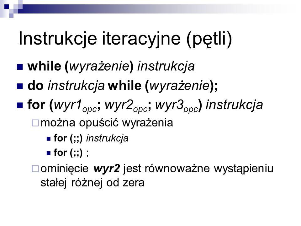 Instrukcje iteracyjne (pętli) while (wyrażenie) instrukcja do instrukcja while (wyrażenie); for (wyr1 opc ; wyr2 opc ; wyr3 opc ) instrukcja można opu