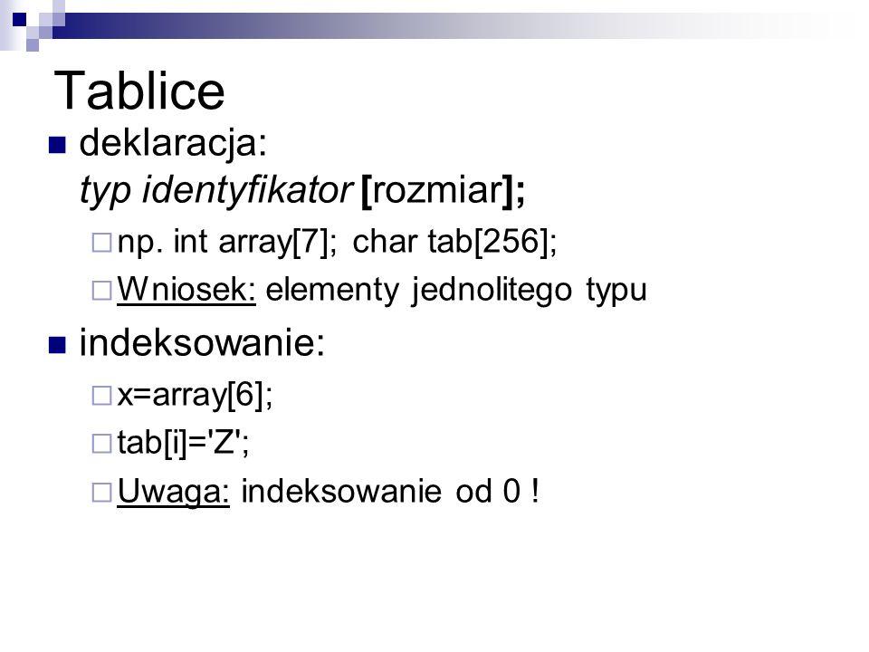 Tablice deklaracja: typ identyfikator [rozmiar]; np. int array[7]; char tab[256]; Wniosek: elementy jednolitego typu indeksowanie: x=array[6]; tab[i]=